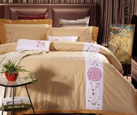 Elegant Hotel Embroidery design bed sheet/Satin Drill Cotton 4PCS bed set