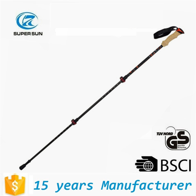 Ninghai carbon fiber Telescoping 3 sections Trekking pole Outdoor Nordic Walking Sticks / hiking pole