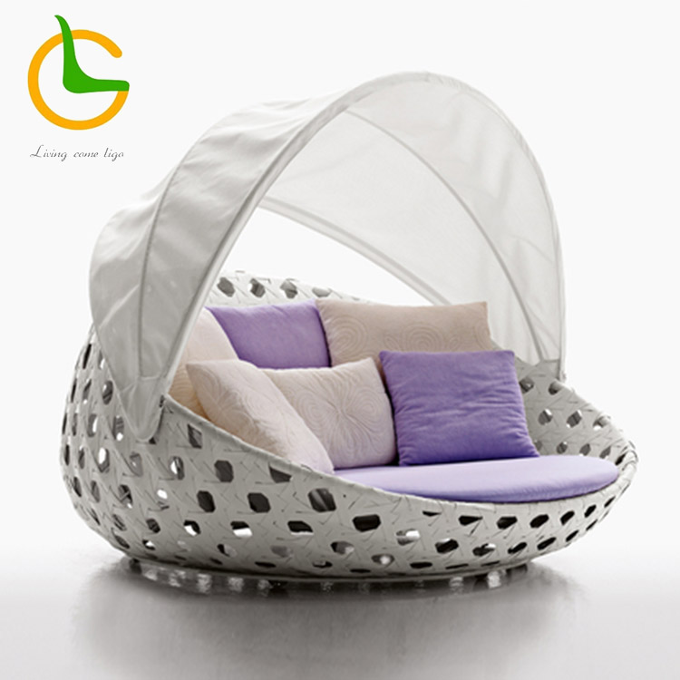 Waterproof holden canopy round rope outdoor daybed