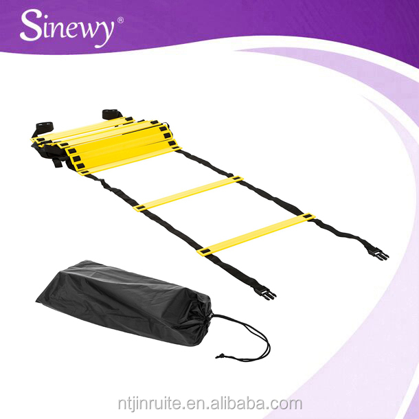 Adjustable speed agility ladder training with carry bag