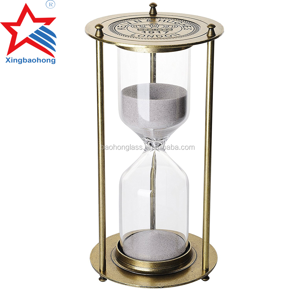 Cheap Antique Engraved Logo Small Metal Brass Hourglss Sand Timer
