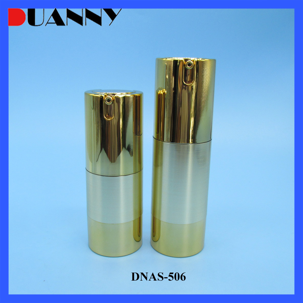 15ml 20ml 30ml 35ml Golden Airless Pump Lotion Aluminum Cosmetic Bottle for Skin Care