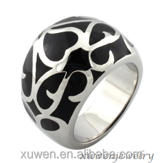 3d CAD file heart enamel 316l stainless steel engraved ring