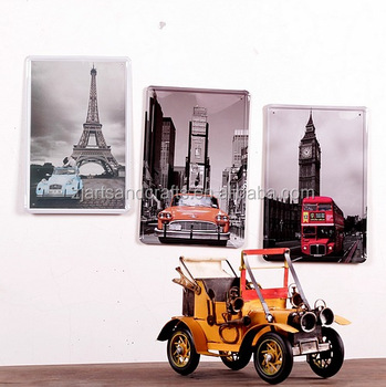 Waste material art craft antique model car for home decoration