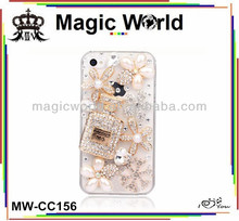 2014 fashion 3d short perfume bottles shaped crystal mobile phone case for samsung