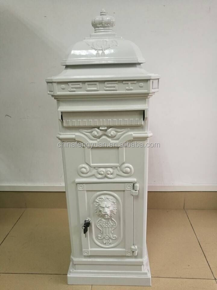 Europe Style Letter Box Standing Waterproof Cast Iron Or Cast Aluminum Mailbox