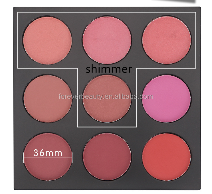 Hot sale products high quality matte powder blush pallet 9 color shimmer no logo oem pretty blusher