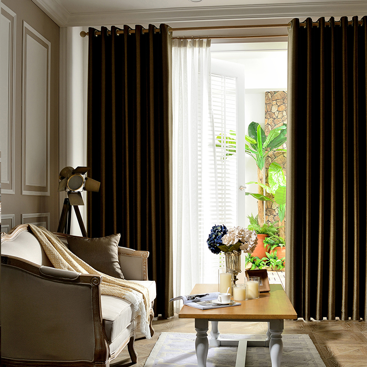 High Grade Eyelet Solid Drapes Blackout Embossed Hotel/Living Room Window Curtain