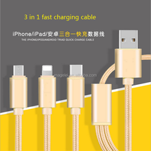 3 in 1 Nylon braided usb charing cable for android/iphone/Type C