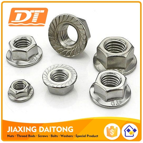 DIN6923 Hex Flange Nuts Hexagon Nuts With Flange M5-M20 Stainless Steel Carbon Steel Plain Black Zinc Plated HDG Plain
