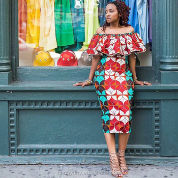 Custom Dress Off Shoulder Slim Fit African Wax Print Party Prom ...