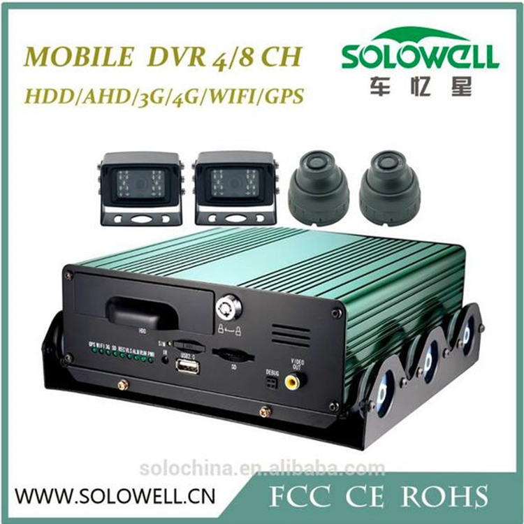 4ch HDD storage mobile dvr with GPS/3G/WIFI online monitoring