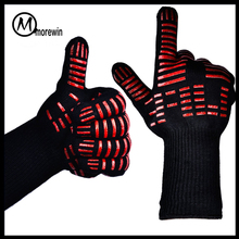Morewin brand Amazon supplier custom grill gloves 932F Extreme Heat Resistant cooking Gloves