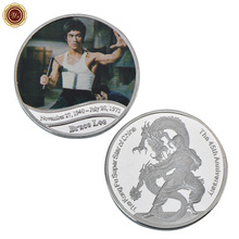 WR Chinese Dragon Silver Plated Metal Coin Business Souvenir the Kungfu Super Star of China Bruce Lee Commemorative Coin