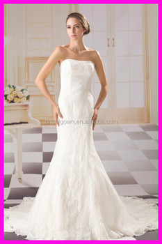 top sell lace mermaid elegant zipper back 2016 fashionable ivory lace wedding dress