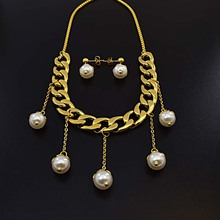 pearl necklace set in yellow gold 18 carat brazilian gold jewelry set