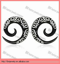Buffalo Horn Spiral Taper with Tribal Logo UV body piercing jewelry