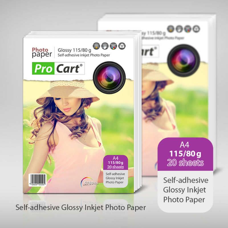 Self-adhesive A4 115/80g Glossy Inkjet photo paper