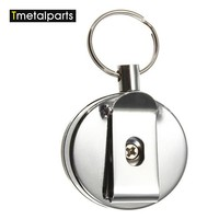 High Strength Useful Retractable Metal Card Badge Holder Steel Recoil Ring Belt Clip Key Chain