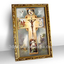Framed art 3d jesus cross oil painting for home decoration