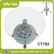 Vase Shape Decorate Glass Corner Table for Living Room