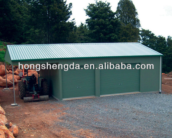 6m*6m*2.7m two car steel metal garage with shed