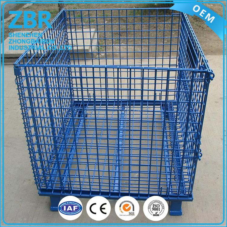 cargo storage equipment free designed folding metal rectangular steel wire mesh cages