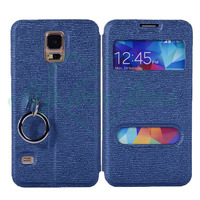 Newest Smart Phone Leather Wallet Case for Samsung Galaxy S5 with Special Ring