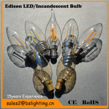 2w 3w 4w E14 110v-130v/220V-240V Dimmable LED Candle Filament bulb