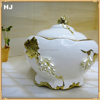 Alibaba hot selling white and gold cheap ceramic fruit bowl with jewel wedding gifts ceramic bowl