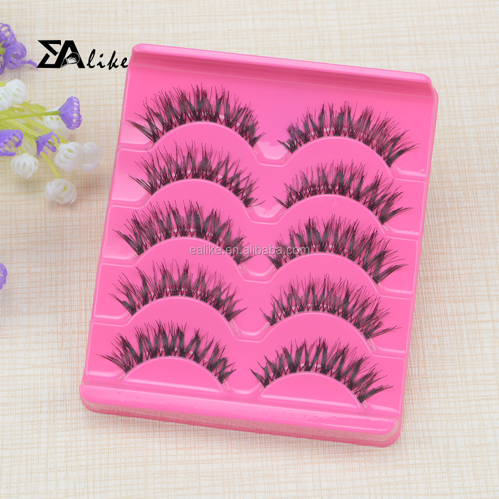 Mink fur strip long lasting red pink real mink fur retail false eyelashes for sale