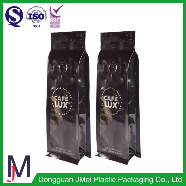Custom printing aluminum foil coffee bag with valve / Coffee beans packaging bags 250g