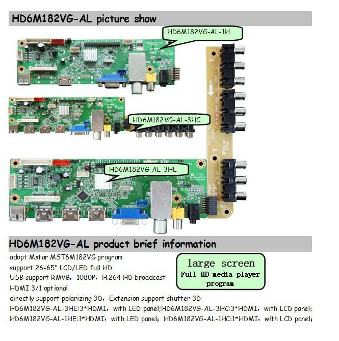 Universal TV Controller Board Optionally Used For Vehicle,Monitor Series