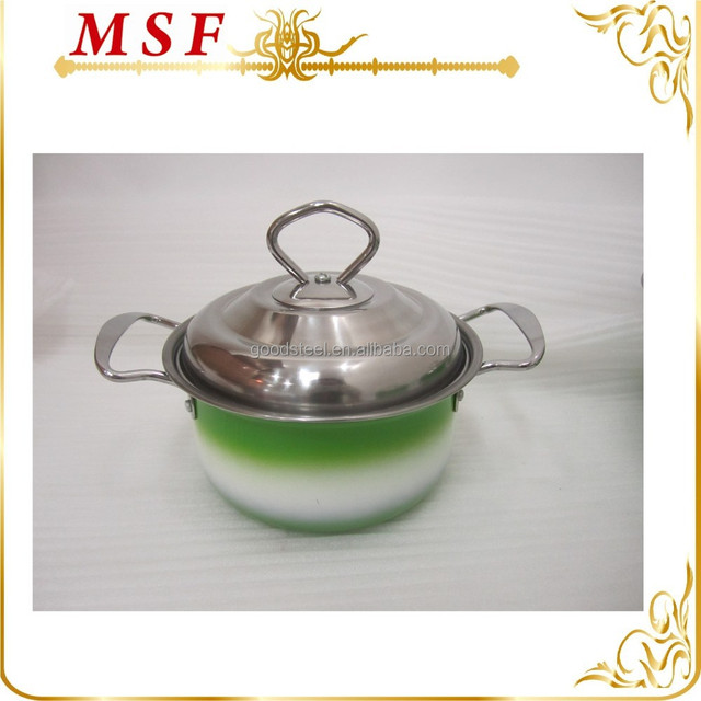 14cm 16cm 18cm 20cm stainless steel casserole dishes SS wire handle casserole carrier induction bottom MSF-3294