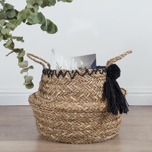 Hand made natural seagrass decorative seagrass hamper seagrass storage basket gift