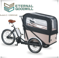High quality 24 inch inter 7 speeds 3wheels electric cargo bike/tricyclebicycle UB 9036E