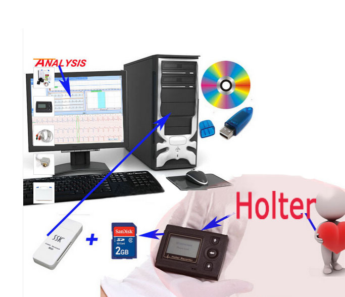 Hot selling 12 channel analysis mini LCD 24 hour Holter recorder System ECGLAB Premier Holter Software