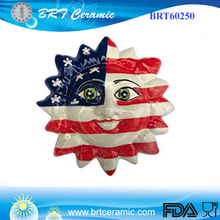 Ceramic American flag pattern red blue sun face
