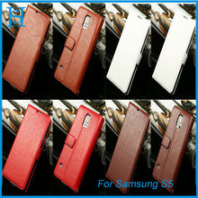 Colorful genuine flip wallet leather phone case for samsung galaxy S5