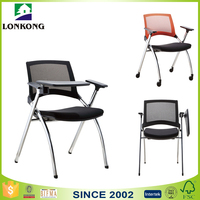 longkong hot sale modern student chair with writing tablet