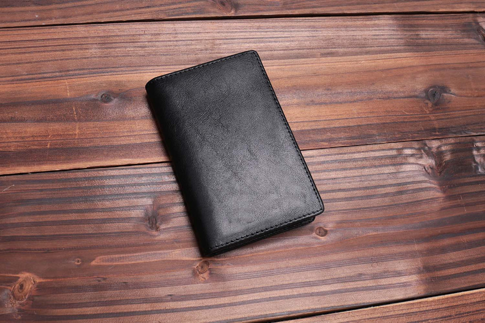 Newest men black genuine leather bifold card wallets Italian vegetable tanned leather purses