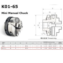 Mini 3 Jaw Lathe Chuck K01-65 65mm Manual Self Centering M14 Thread Mount Accessories for Lathe