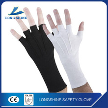 High Quality Fingerless half finger Long Wristed White Thin Cotton Hand Gloves