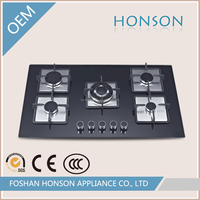 Professional Factory Cast Iorn Built in Tempered Glass Gas Hob Gas Cooker Gas Cooktop