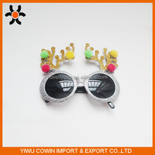 Fashion christmas sunglasses with many styles tree antlers with gold and silver powder