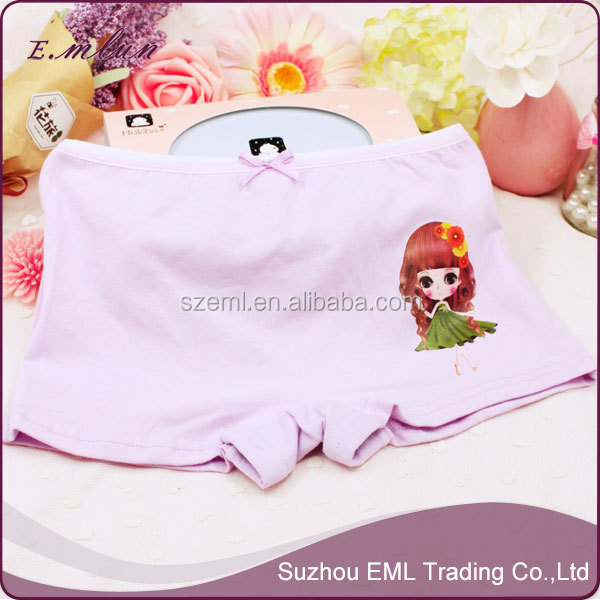 China children's underwear factory cartoon print school young girls fashion underwear EML-12-W3061