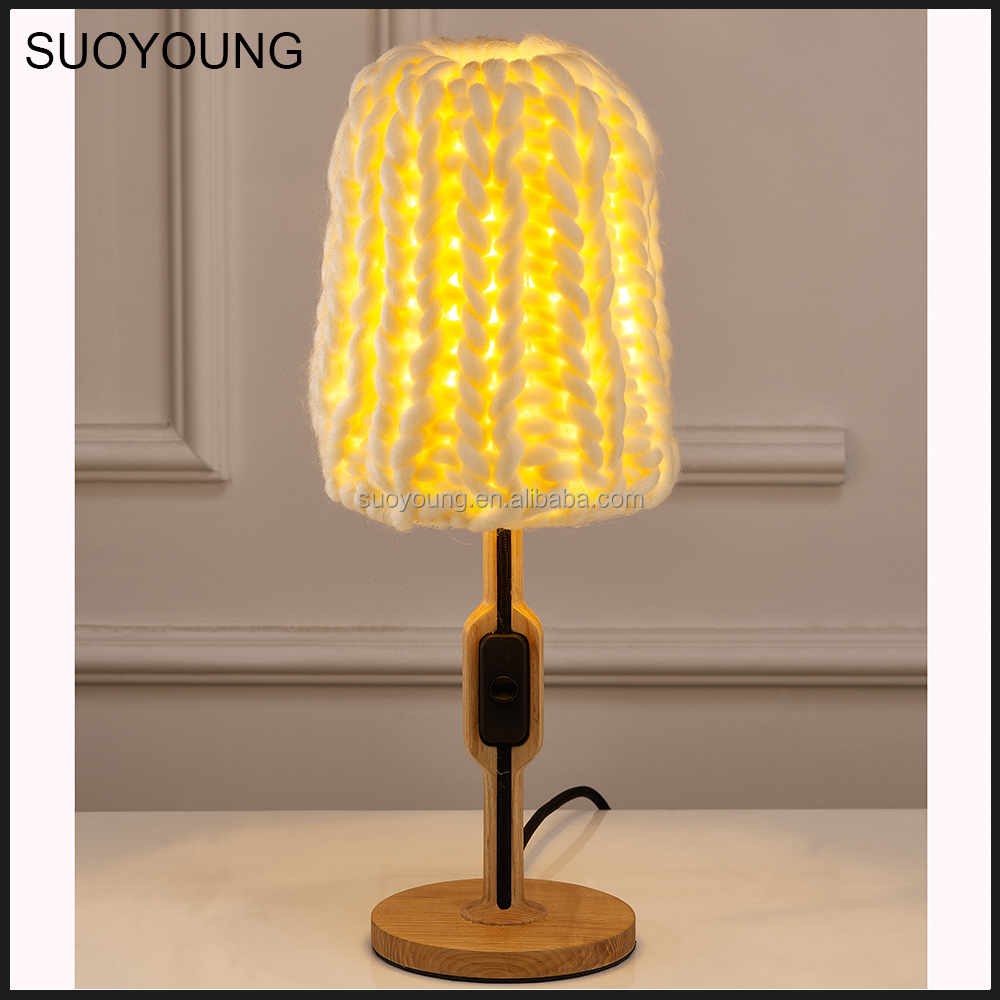 New Products Modern Wood Base String Fabric Table Lamps MT8097-1