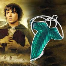 Zinc Based Alloy Silver Tone Green Enamel The Lord of The Rings Elven Leaf Brooch Pendants
