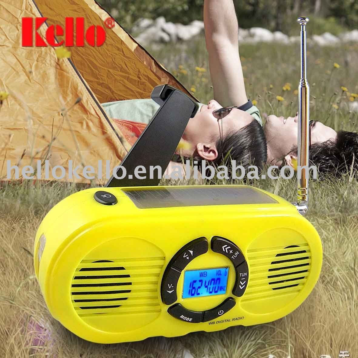 Solar hand crank dynamo LCD Digital AM/FM/NOAA Radio with LED Flashlight & Charger