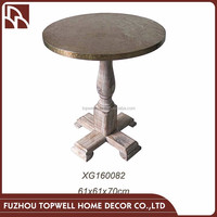 Wholesale Round Wood Coffee Table Design With Aluminum Top